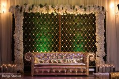 overview of the Indian wedding stage decor by Banga Studios – Engagement Decoration Reception Stage Decor, Wedding Backdrop Design, Desi Wedding Decor, Wedding Hall Decorations, Wedding Stage Design, Wedding Reception Backdrop, Backdrop Decorations, Party Wedding, Wedding Mandap