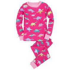 Buy Hatley Girl's Dino Pyjamas, Pink, 2 years Online at johnlewis.com