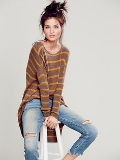 Slouchy Stripe Pullover | Semi-sheer cropped top with a raw ribbed trim.  Low back and oversized armholes.