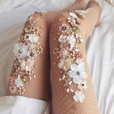 She takes inspiration from the natural world to create delicate, hand-beaded stockings that are beyond astonishing. Photo - Lirika Matoshi makes sparkly tights for fairy queens Fishnet Stockings, Fishnet Tights, Grey Tights, Nylons, Sparkly Tights, Floral Tights, Sparkly Clothes, Fashion Details, Fashion Design