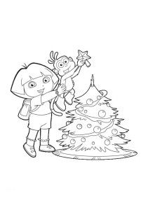 Dora And Boots Decorate Tree Coloring Page