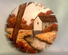 Hand Painted Saw Blade Large Collectible Fall Mill Scene