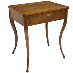 Italian Walnut Biedermeier Side Table with Single Drawer 1