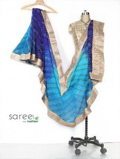 Blue and Light Blue Georgette Saree with Gota Patti and Stone Work