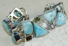 Larimar,Mixed Faceted Stones bracelet designed and created by Sizzling Silver. Please visit  www.sizzlingsilver.com. Product code: BR- 8807