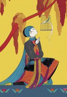 1926 and april art deco asia bird cage cover exotic girl kneeling magazine oriental romantic talking the frank mcintosh multi birds & bugs united states color-process art Art Vintage, Retro Poster, Art Deco Posters, Retro Art, Vintage Travel Posters, Painting Of Girl, Painting Prints, Art Prints, Art Deco Illustration