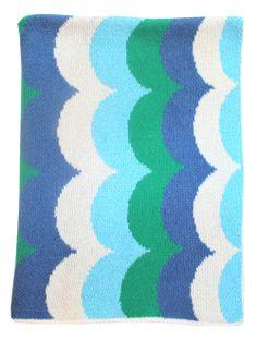 Waves Mini Blanket- Ocean - Happy Habitat by Karrie Kaneda - $68.00 - domino.com