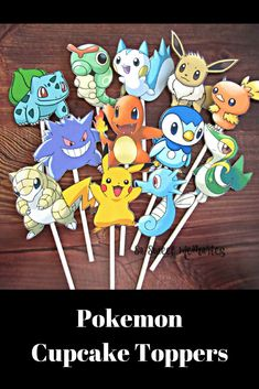 POKEMON Cupcake Toppers / Cake Toppers / Die Cuts / Birthday Party / Decorations / Cake Pops / Supplies / Decor #birthday #pokemon #etsy #ad