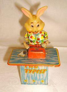 "Vintage Tin Wind-Up ""THE TYPIST"" Rabbit by Kanto Toys Japan"