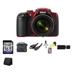 Nikon COOLPIX P600 16.1 MP Wi-Fi CMOS Digital Camera (Red) 16GB Bundle 1 >>> Check out this great product.
