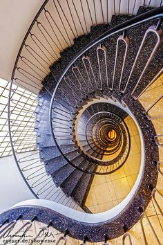 Spiral Staircase in Munich, Germany. Staircase Handrail, Modern Staircase, Grand Staircase, Staircase Design, Spiral Staircases, Banisters, Take The Stairs, Under Stairs, Beautiful Stairs