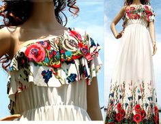 New White Maxi Dress Floral One Shoulder Jersey by myuniverse