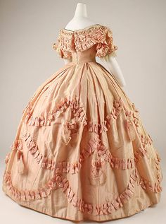 Peach Silk Dress -- 1860-61 -- French -- The Costume Institute at The Metropolitan Museum of Art