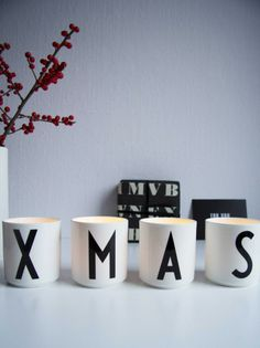 XMAS, Nordic Christmas. Design Letters cups with Arne Jacobsen typography