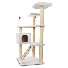 You & Me Terrace Cat Tree - For climbing, resting, playing and scratching. It features durable sisal scratching posts and ramp, plus roomy platforms. Includes a feather toy and a spring toy for added entertainment. - http://www.petco.com/shop/en/petcostore/you-and-me-terrace-cat-tree