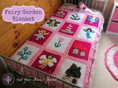 Laço Crochetar Cobertor Fada do jardim Temático - /  Knot Crochet: Fairy Garden Themed Blanket -