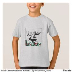 6d24f614 Hand-Drawn Outdoors Moose Flowers Art Customizable T-Shirt | Zazzle.com