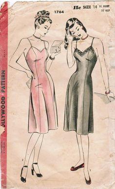 Vintage 1940s slip sewing pattern