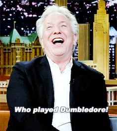 """Alan Rickman on the Jimmy Fallon show ... Alan had mispronounced """"Dumbledore"""" and it cracked him up - in the GIF he's correcting the pronunciation."""