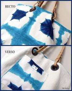 SAC cabas en lin  écru et toile de coton turquoise