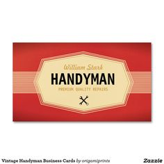 Vintage Handyman Business Cards.  Personalize with your business details.  Can also be used on a door or wall for display.