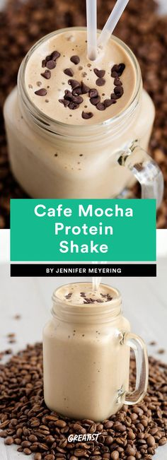 Cafe Mocha Protein Shake Put a cup of coffee in the fridge before going to bed, and this breakfast will take approximately three minutes to make. Just throw the coffee in a blender with ice, almond milk, and both chocolate and vanilla protein powder. The combo kind of makes it taste like a malt… milkshakes for breakfast are a definite win.