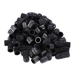 100 UNIDS Negro Plástico Auto Motocicleta de La Bici Del Coche Casquillos del Vástago de Válvula del Neumático de la Rueda Del Carro