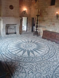 Pebble Mosaic Floor… Talking About Dedication! Pebble Floor, Pebble Mosaic, Stone Mosaic, Mosaic Art, Mosaic Glass, Mosaic Tiles, Mosaic Floors, Tiling, Floor Design