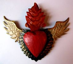 'Flaming Sacred Heart with Wings'