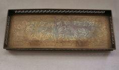 Lovely ART NOUVEAU Jugendstil style PEN TRAY Finely HAND ETCHED Brass or Bronze