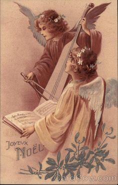 Two Angels Playing Instrument and Singing