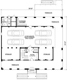 House Plans - 7922-00105 different garage layout