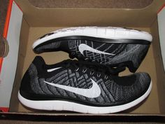 Nike Free 4.0 Flyknit Mens Running Shoes 8.5 Black White Wolf Grey 717075 001…