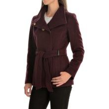Cole Haan Outerwear Double-Breasted Wool Coat - Belted (For Women) in Bordeaux - Closeouts