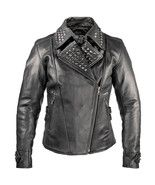New Woman Brando Style Silver Studded Punk Cowhide Leather Jacket - $189.99+