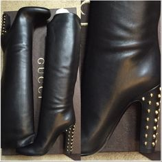 """Authentic Gucci Boots Size 38 (listed as 7.5)because they run slightly smaller because they are """"pull on"""" style, and to be honest I feel that they are uncomfortable to walk in. Heel height 4.25-4.5"""", shaft 15.25-16"""", opening circumference 14-14.75""""  •genuine leather •gold Stud detail on heels •Leather lining & soles •dust bag/cards. Original box included also. Gucci Shoes Heeled Boots"""