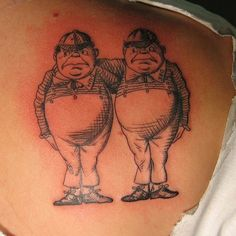 A tattoo of Tweedle Dee and Tweedle Dum from Alice in Wonderland