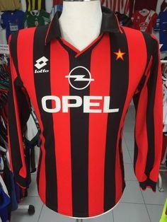 Vintage Long Sleeve Shirt AC Milan 1994/95 S Home Lotto | Etsy Retro Football Shirts, European Soccer, Fc Chelsea, Ac Milan, Tottenham Hotspur, Liverpool Fc, Vintage Shirts, Premier League, Long Sleeve Shirts