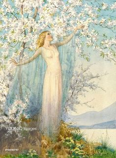 'Spring Hangs her Infant Blossoms' - tree in blossom with spring spirit. Margaret Tarrant: