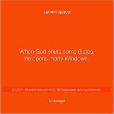 2/4/2014: Microsoft gets new CEO. Bill Gates steps down as Chairman.