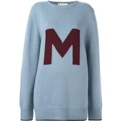 Marni 'M' jumper (€460) ❤ liked on Polyvore featuring tops, sweaters, blue, oversized tops, boat neck sweaters, bateau neck sweater, marni sweater and bateau neck tops