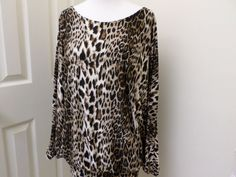 Rampage Ladies Knit Top Batwing Sleeves Leopard Pattern Sexy Back #Rampage #KnitTop