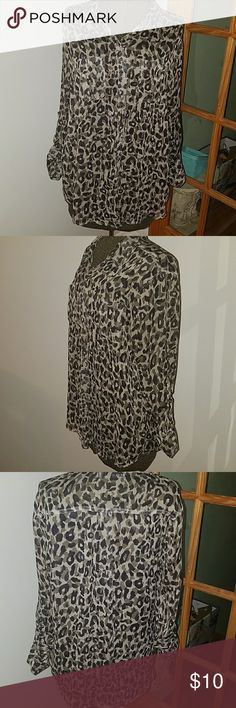 Sheer long-sleeve blouse Leopard print long sleeve blouse Old Navy Tops
