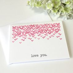 Valentine's Day Card - Love You - Pink Hearts - Valentine For Him - Valentine For Her - Valentine For Friend - Love Card - Greeting Card