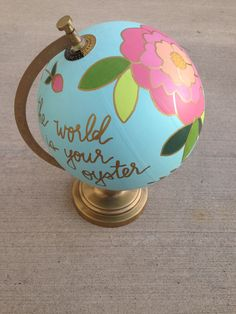 Hand painted globe floral flobe vintage globe by DovieLou on Etsy Globe Crafts, Map Crafts, Painted Globe, Hand Painted, Global Thinking, Globe Art, Vintage Globe, Small Sculptures, Assemblage Art