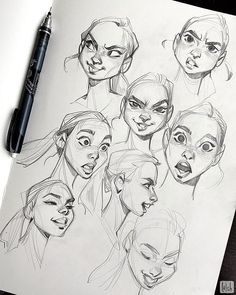 Some expression studies! Referenced from Noah Bradley's expression reference pack. Definitely want to do more of these soon and improve my… Cartoon Sketches, Cartoon Art Styles, Art Drawings Sketches, Cartoon Characters Sketch, Art Illustrations, Characters To Draw, Hand Drawings, Disney Drawings, Illustration Art