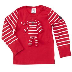 Polarn O. Pyret Playful Striped Baby Top. Striped bunny kids clothes.
