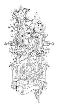 L is for Lear: Pencil sketch by David Smith as a design for glass gilding.