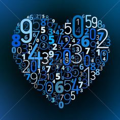 Heart shape  from different numbers vector love math symbol, formula symbol