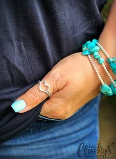 The Original Cheekys Brand ~ CB Stacked Ring in Silver - In two sizes, either Size 7 or Size Always hypoallergenic, lead & nickle free! Thank you for shopping Cheekys! Real Country Girls, Arrow Ring, Best Friend Jewelry, Spoon Rings, Stacking Rings, Wedding Jewelry, Turquoise Bracelet, Silver Rings, Bracelets